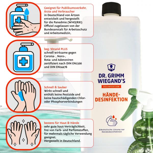 Haut & Hand Desinfektionsmittel inkl. Sprüher Desinfektion Mittel Hände 1000ml