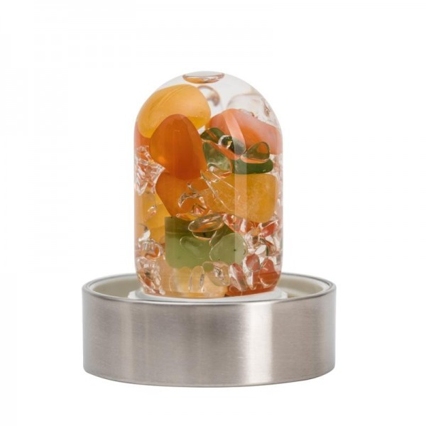 AZ- VitaJuwel NEU! Via Happiness 500ml GLAS WASSERFLASCHE (Karneol orange CALCIT Jade (Nephrit) klar
